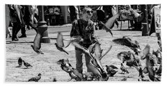 Black And White Of Boy Feeding Pigeons In Sarajevo, Bosnia And Herzegovina  Beach Towel