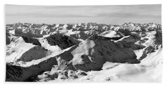 Black And White Of The Summit Of Mount Elbert Colorado In Winter Beach Towel