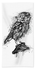 Beach Towel featuring the mixed media Black And White Owl by Marian Voicu