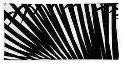 Black And White Palm Branch Beach Towel