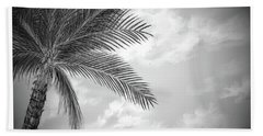 Beach Sheet featuring the digital art Black And White Palm by Darren Cannell