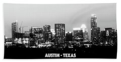 Black And White Panoramic View Of Downtown Austin Beach Towel