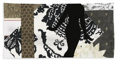 Black And White Paper Doll Beach Towel