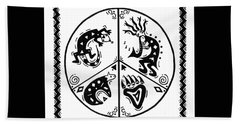 Black And White Peace And Love Beach Towel by Susie WEBER