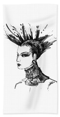 Beach Towel featuring the digital art Black And White Punk Rock Girl by Marian Voicu