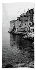 Black And White - Rovinj Venetian Buildings And Adriatic Sea, Istria, Croatia Beach Towel