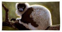Black And White Ruffed Lemur Beach Sheet