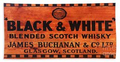 Black And White Scotch Whiskey Wood Sign Beach Towel
