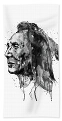Beach Towel featuring the mixed media Black And White Sioux Warrior Watercolor by Marian Voicu