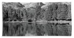 Beach Towel featuring the photograph Black And White Sprague Lake Reflection by Dan Sproul