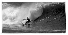 Black And White Surfer Beach Towel