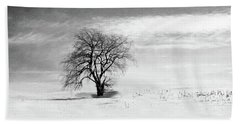 Black And White Tree In Winter Beach Towel
