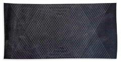 Black And White Triangular Line Art Beach Towel