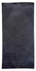 Black And White Triangular Line Art Beach Towel by Brandi Fitzgerald
