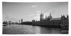 Black And White View Of Thames River And House Of Parlament From Beach Towel