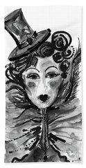 Beach Towel featuring the mixed media Black And White Watercolor Fashion Illustration by Marian Voicu