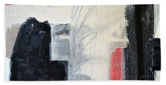 Beach Towel featuring the painting Black And White With Lines by Michelle Calkins