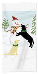 Black And Yellow Labs With Snowman Beach Towel