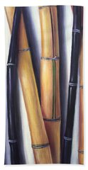 Black And Gold Bamboos Beach Sheet by Randy Burns