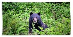 Black Bear Eating His Veggies Beach Towel