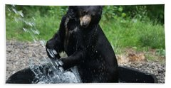 Black Bear Enjoys His Shower Beach Towel
