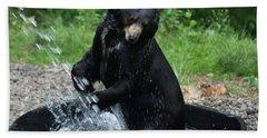 Black Bear Enjoys His Shower Beach Sheet