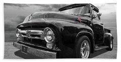 Black Beauty - 1956 Ford F100 Beach Towel