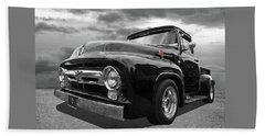 Black Beauty - 1956 Ford F100 Beach Towel