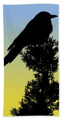 Black-billed Magpie Silhouette At Sunrise Beach Towel