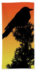 Black-billed Magpie Silhouette At Sunset Beach Towel