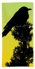 Black-billed Magpie Silhouette - Special Request Background Beach Towel