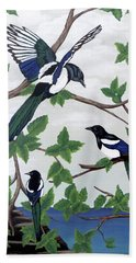 Beach Towel featuring the painting Black Billed Magpies by Teresa Wing
