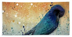 Black Bird Paint Splatter  Beach Towel