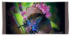 Black Blue Butterfly Beach Towel by Shirley Moravec