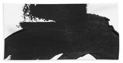 Black Brushstroke 4- Art By Linda Woods Beach Towel