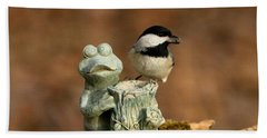 Black-capped Chickadee And Frog Beach Towel