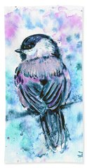 Beach Towel featuring the painting Black-capped Chickadee by Zaira Dzhaubaeva