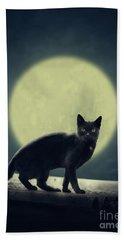 Black Cat And Full Moon Beach Towel