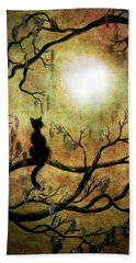 Black Cat And Full Moon Beach Sheet by Laura Iverson