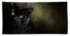 Black Cat Portrait Beach Towel
