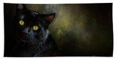 Black Cat Portrait Beach Towel