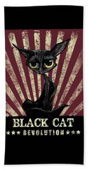 Black Cat Revolution Beach Towel