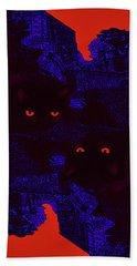 Black Cat Under A Blood Red Moon Beach Towel