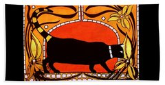 Beach Towel featuring the painting Black Cat With Floral Motif Of Art Nouveau By Dora Hathazi Mendes by Dora Hathazi Mendes