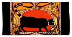 Black Cat With Floral Motif Of Art Nouveau By Dora Hathazi Mendes Beach Sheet by Dora Hathazi Mendes