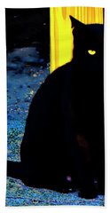 Black Cat Yellow Eyes Beach Towel