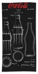 Black Coca Cola Bottle Patent Beach Towel