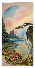 Flying Lamb Productions                     Black Crowned Heron Beach Towel