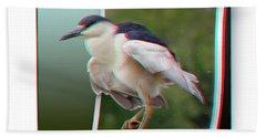 Black Crowned Night Heron - Use Red-cyan 3d Glasses Beach Towel
