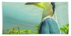 Black-crowned Night Heron Digital Art Beach Towel